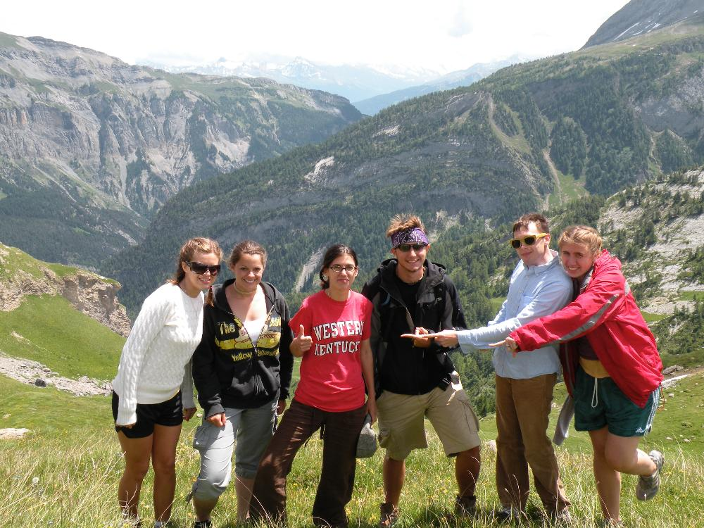 Switzerland w/students in Alps